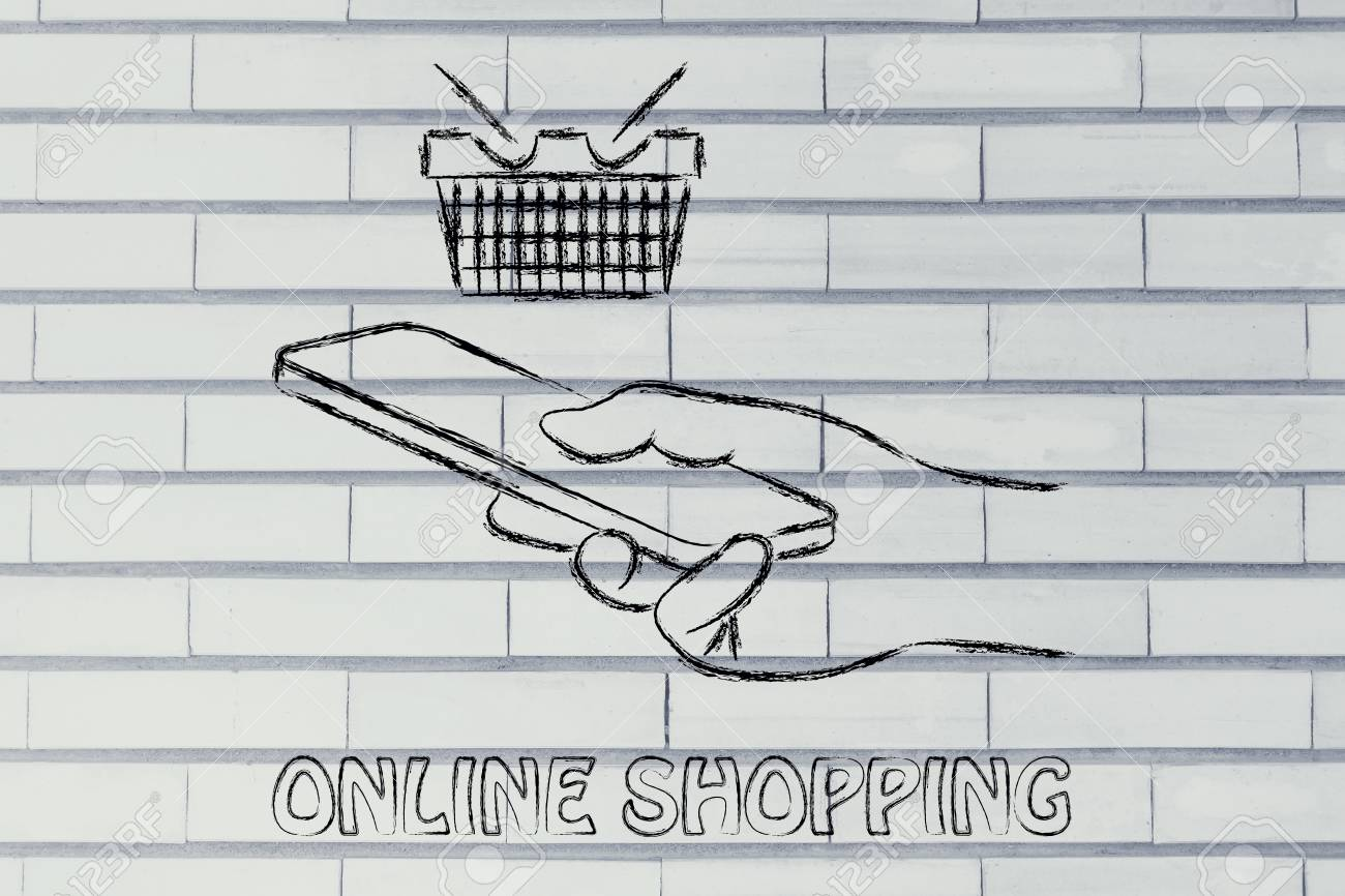 Online Shopping On The Go, Cart And Hand Holding A