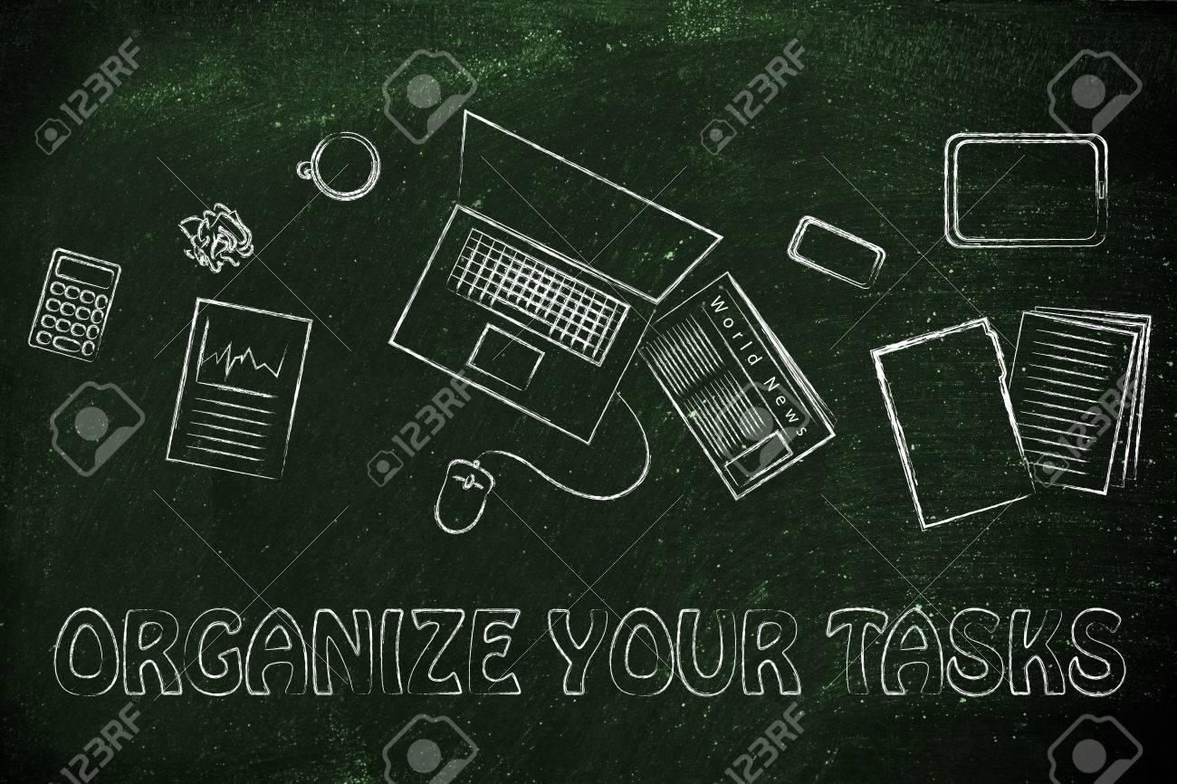 Organisieren Sie Ihre Aufgaben Schreibtisch Mit Buroarbeit Objekte