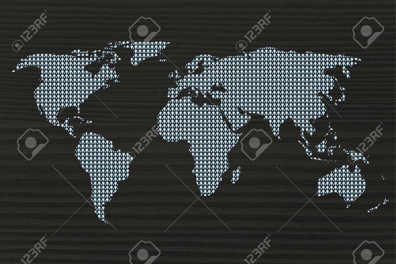 gps geolocalisation pins creating the map of the world stock photo