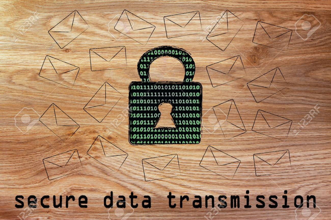 secure data transmission and encryption: lock with binary code