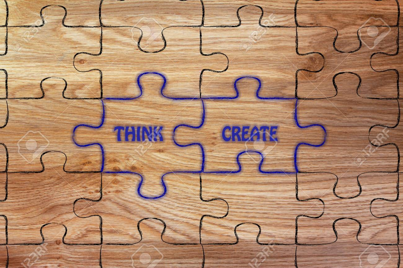 matching jigsaw puzzle pieces metaphor think create stock photo