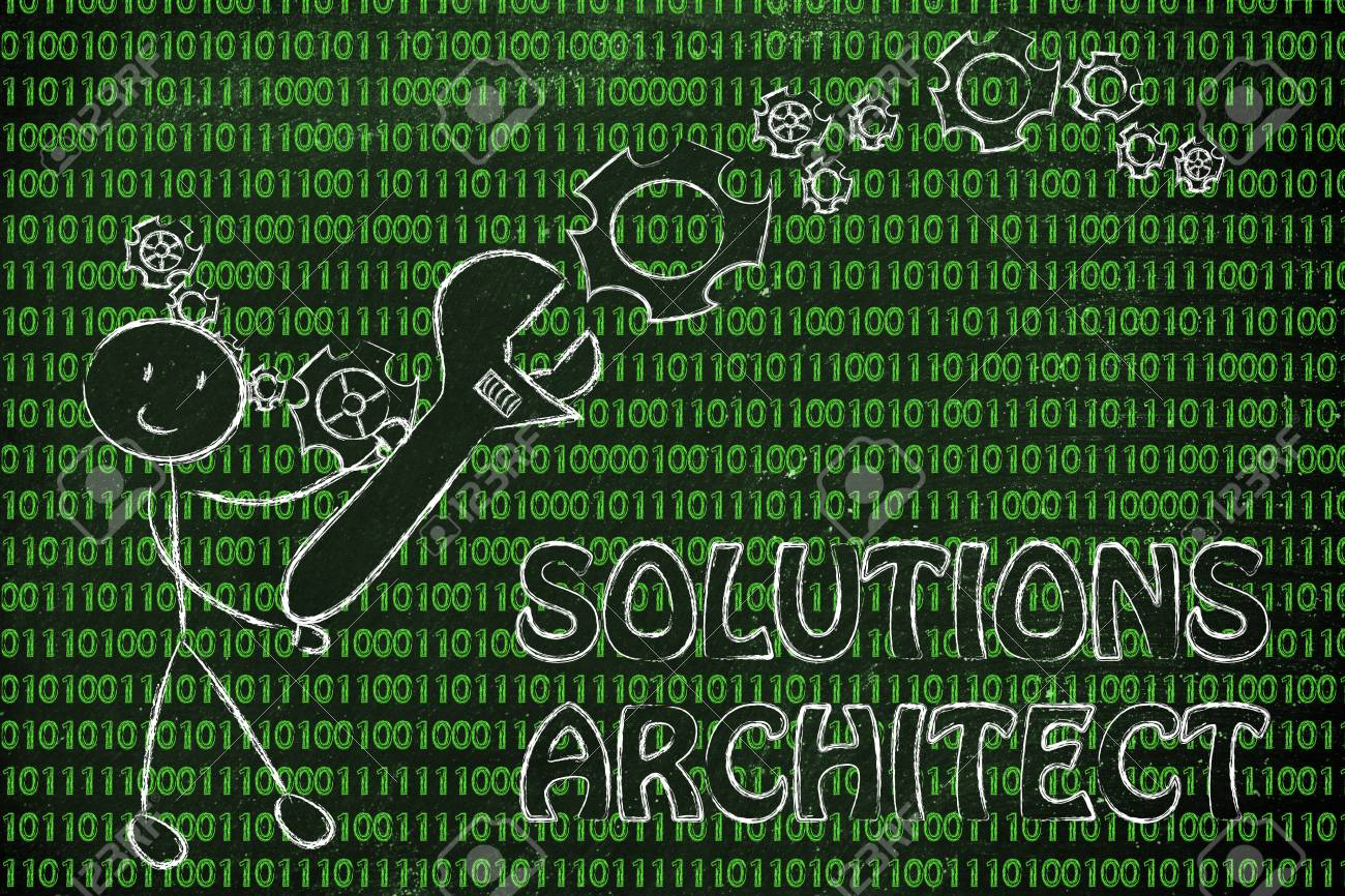 being a solution architect: man fixing binary code with a wrench