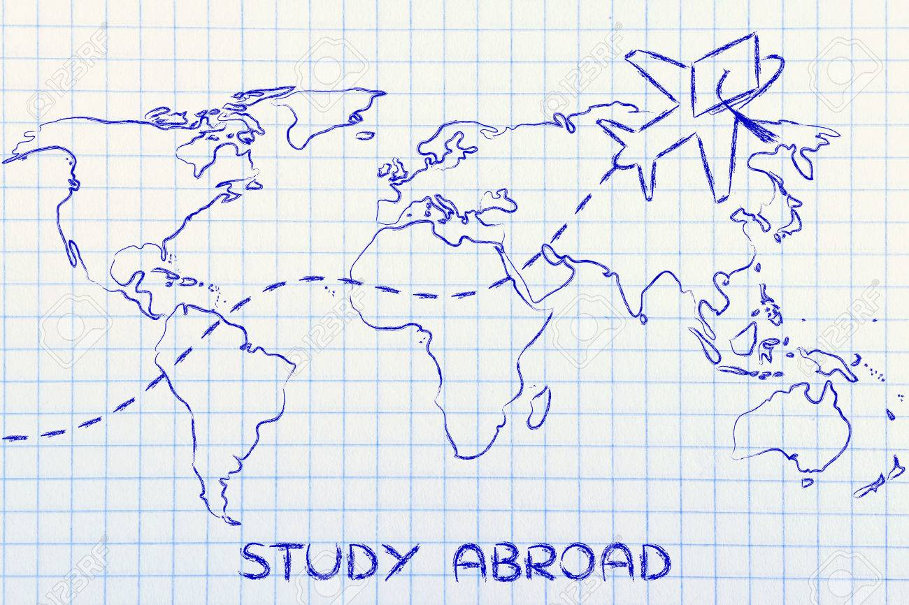 Study World Map.Airplane With Graduation Hat Flying Above World Map Study Abroad