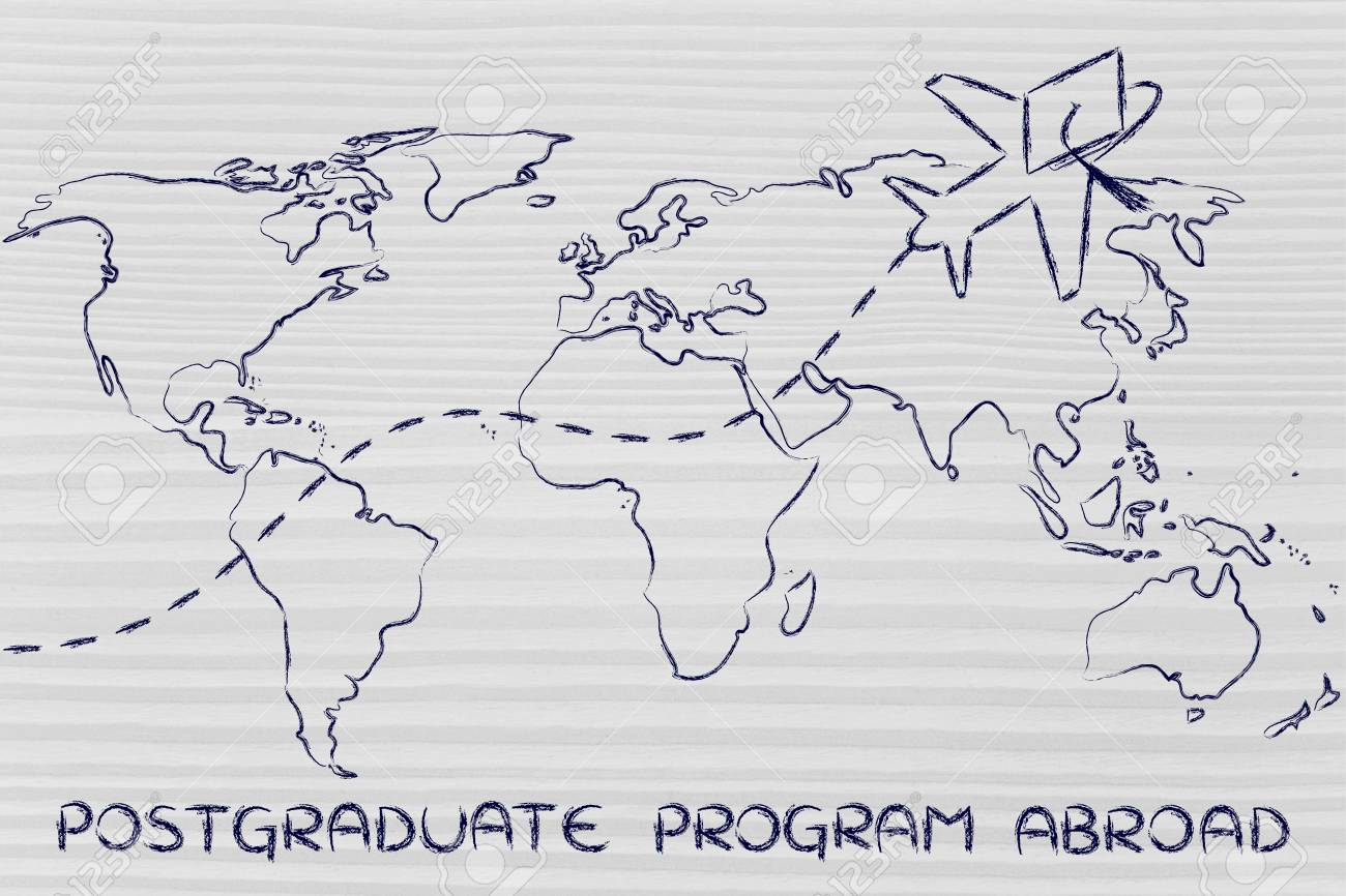 Airplane with graduation hat flying above world map concept stock airplane with graduation hat flying above world map concept of postgraduate programs abroad stock photo gumiabroncs Image collections