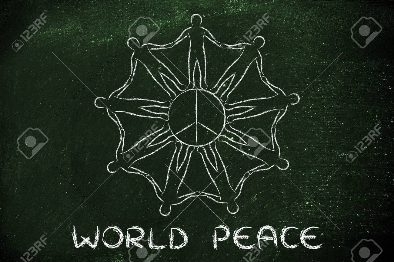 World Peace People Holding Hands Around The Peace Symbol Stock