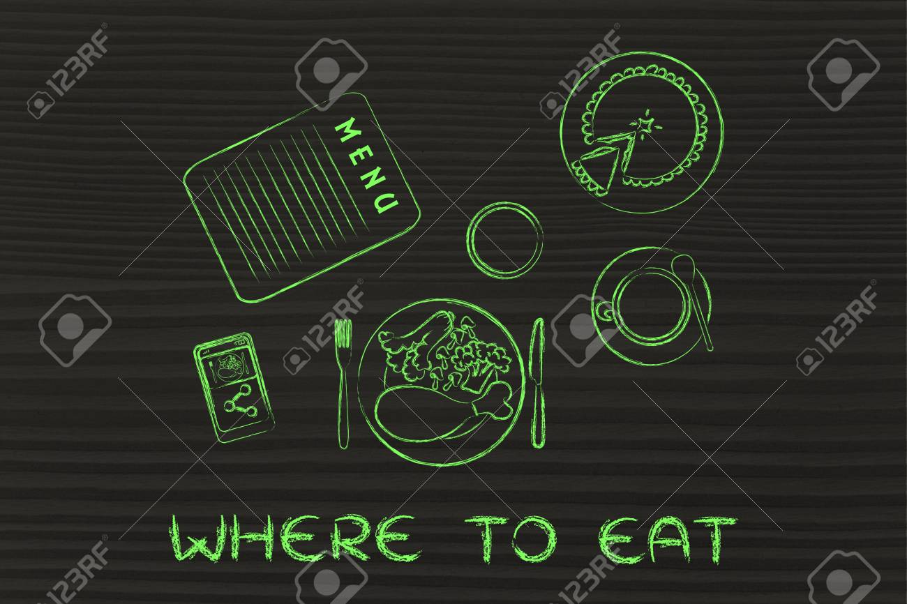 Wo Man Essen: Tisch Mit Menü, Essen, Kuchen, Telefon Und Kaffee ...
