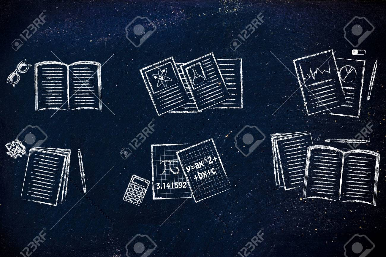 set of school books and textbooks about maths, chemistry, literature,