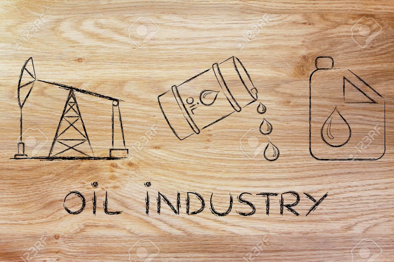 oil industry: pump jack, barrel and tank, flat outline illustration - 51208871