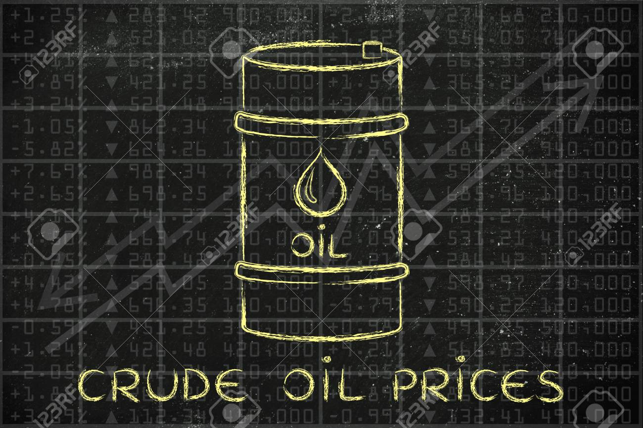 crude oil prices: barrel over stock exchange index performance background - 51209443
