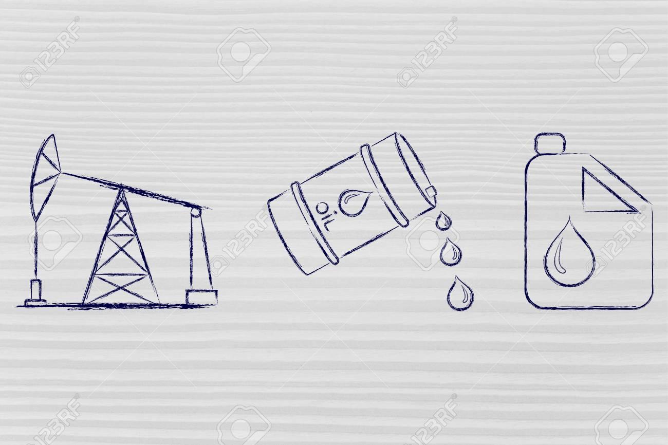 pump jack, oil barrel and tank, flat outline illustration - 51209444