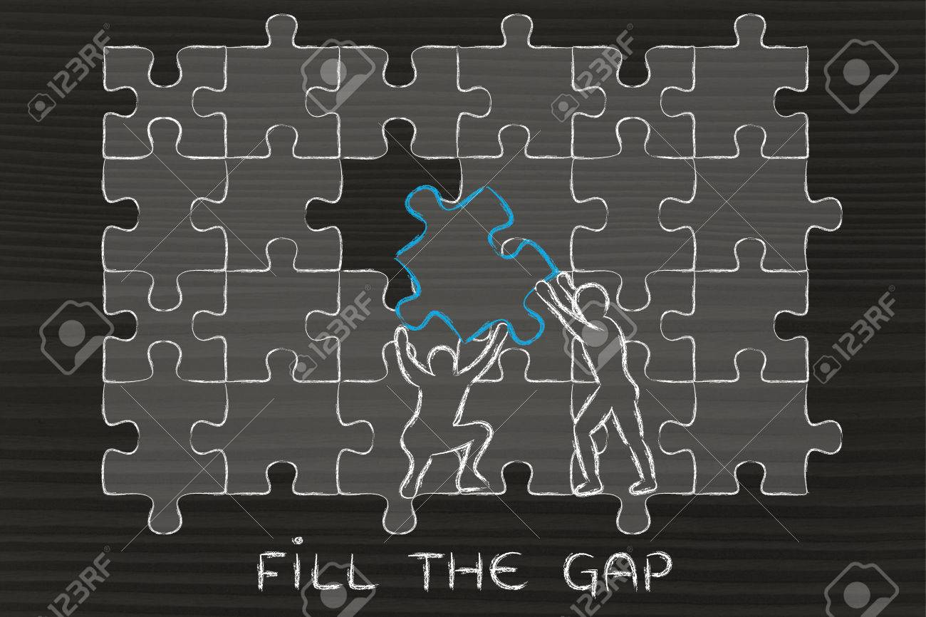 Fill The Gap Men Completing A Jigsaw Puzzle With Missing Piece Stock Photo