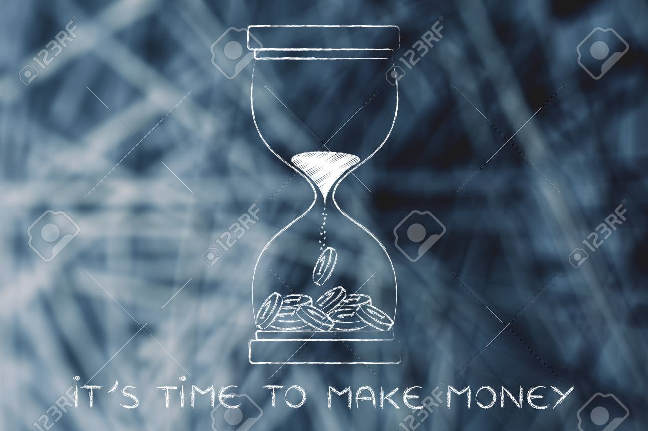 Zeit Geld Zu Verdienen Sanduhr Mit Sand In Münzen Drehen