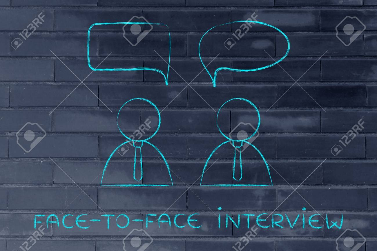 face to face interview recruiter and candidate conversation stock photo face to face interview recruiter and candidate conversation comic bubble