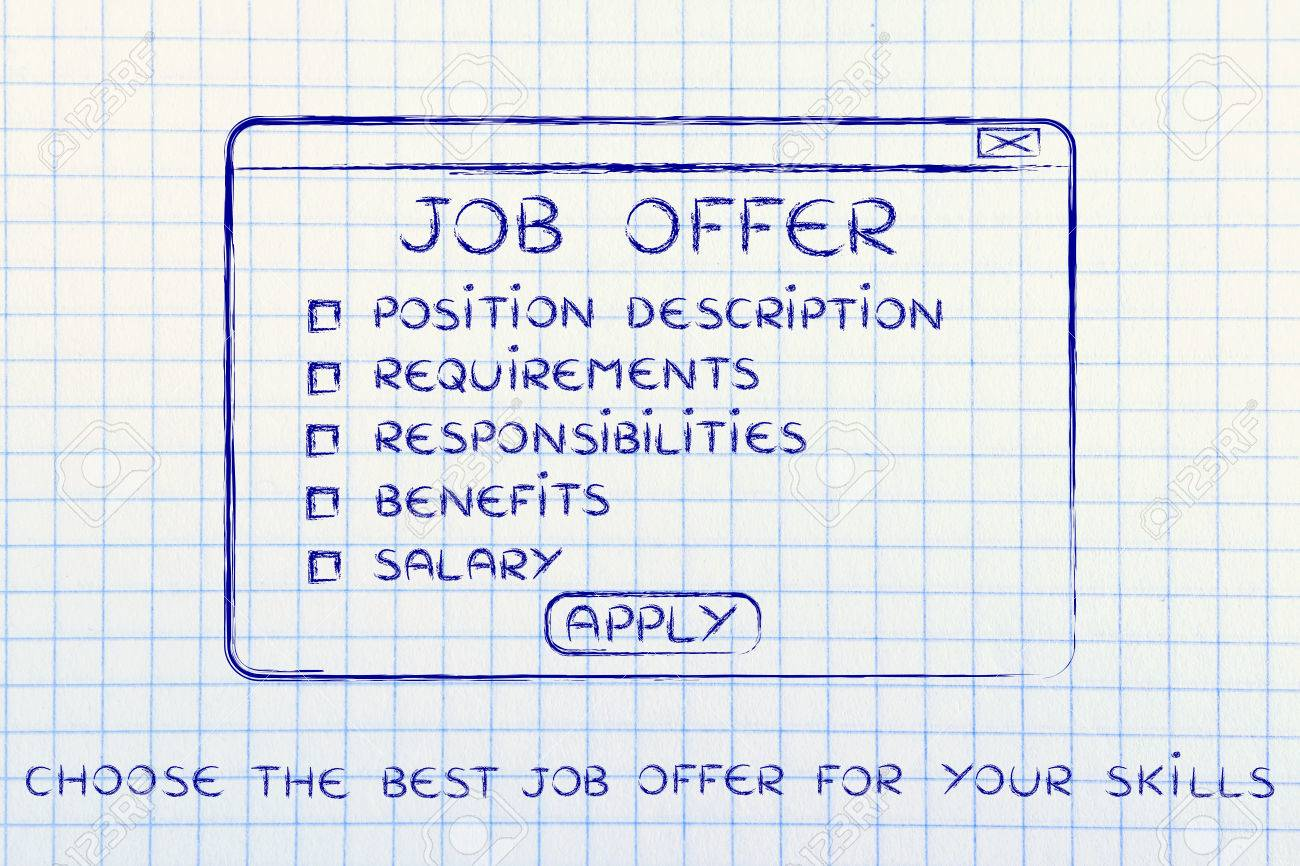 choose the best job offer for your skills list of main elements stock photo choose the best job offer for your skills list of main elements to consider in a pop up window design