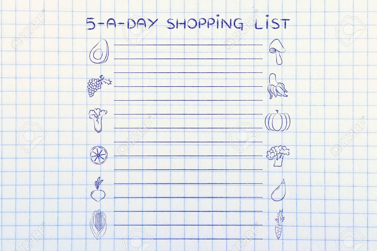 5-a-day Einkaufsliste, Vorlage Mit Obst Und Gemüse Icons Und Linien ...
