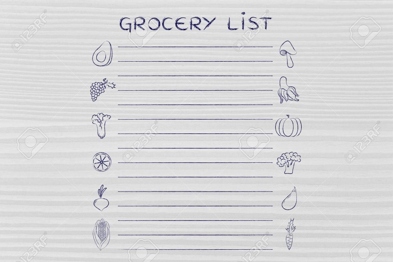 Einkaufsliste Vorlage Mit Obst Und Gemüse Icons Und Linien Text ...