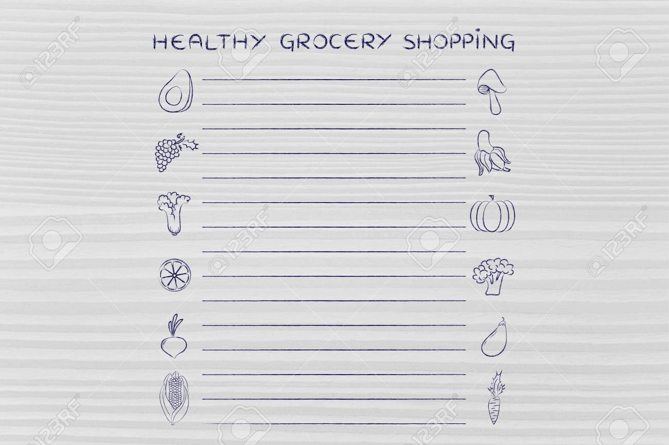 Healthy Grocery Shopping Template With Fruit And Vegetables Stock