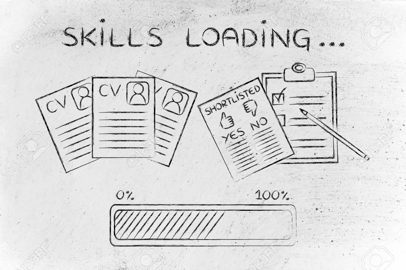 Skills Loading: CV And Shortlist Of Candidates With Progress.. Stock ...