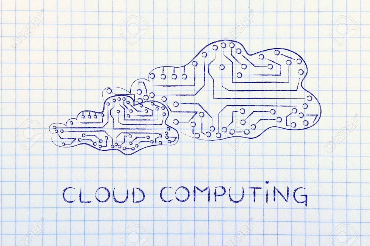 Cloud Computing Clouds Made Of Electronic Circuits Like Microchips Design Online Concept Remote Storage