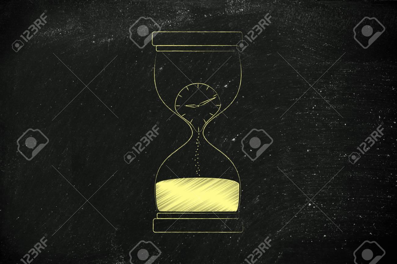 Reloj De Arena Con El Reloj De Fusión De La Arena El Concepto Del