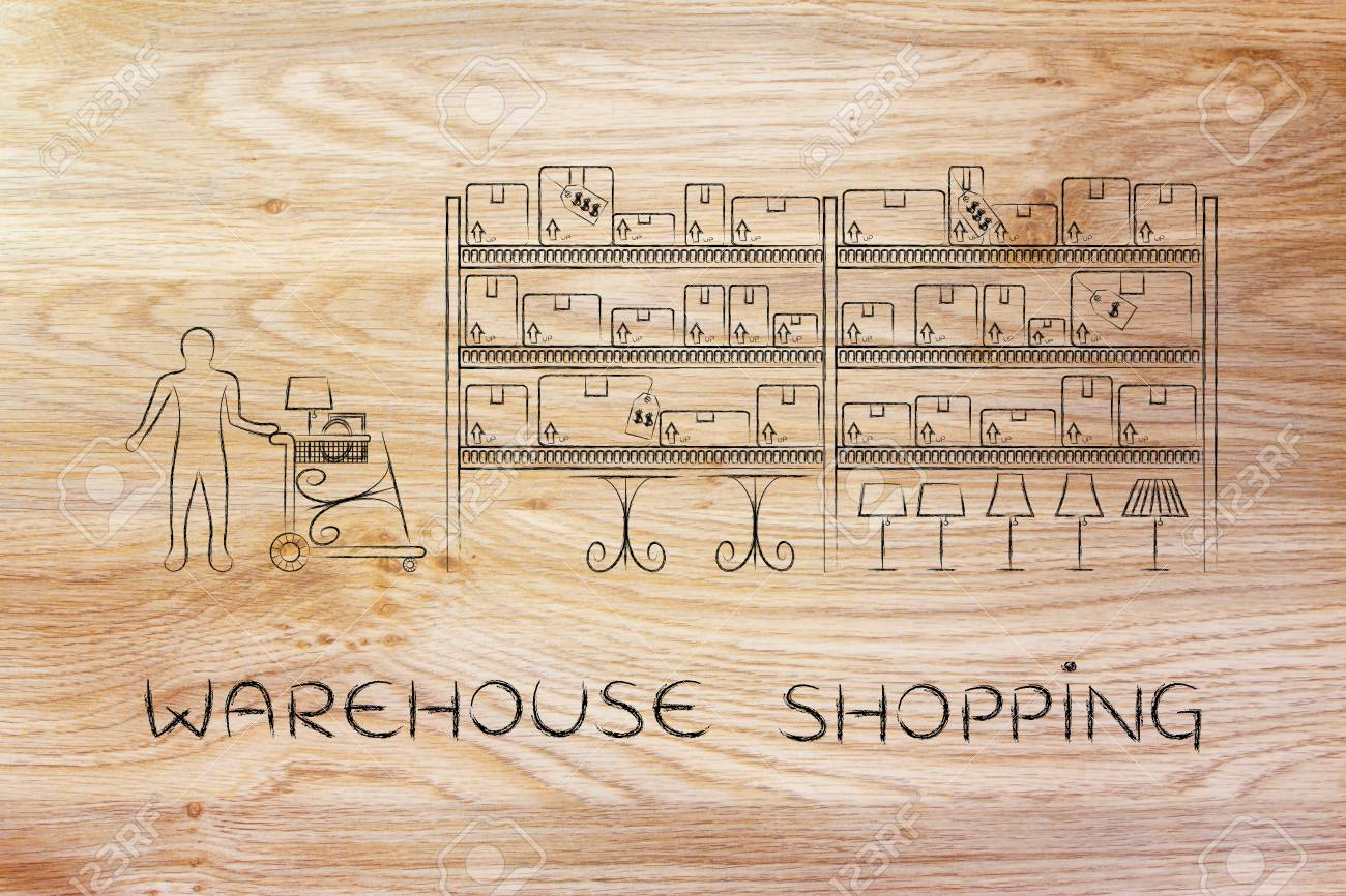 warehouse style furniture. Stock Photo - Warehouse Shopping: Customer With Shopping Cart Walking  Through Style Aisle In A Furniture Store R