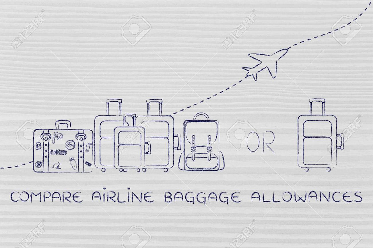 Compare Airline Baggage Allowances: Illustration Of A Group Of ...