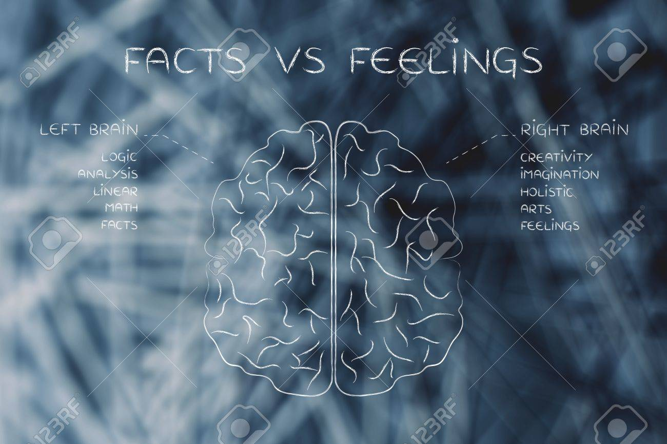 Facts Vs Feelings: Flat Illustration Of A Brain With Left And ...