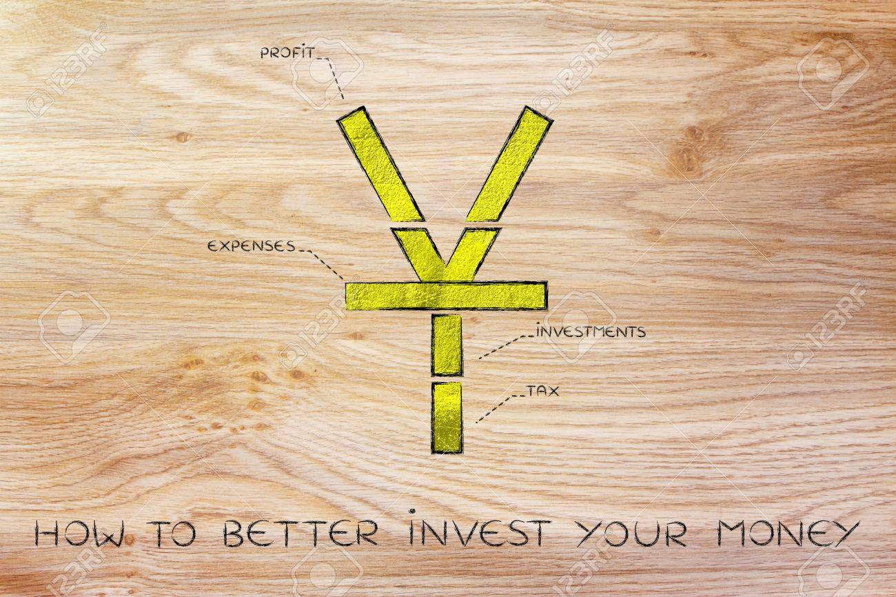 Stock Photo How To Better Invest Your Money: Chinese Yuan Currency Symbol  Split Into 4