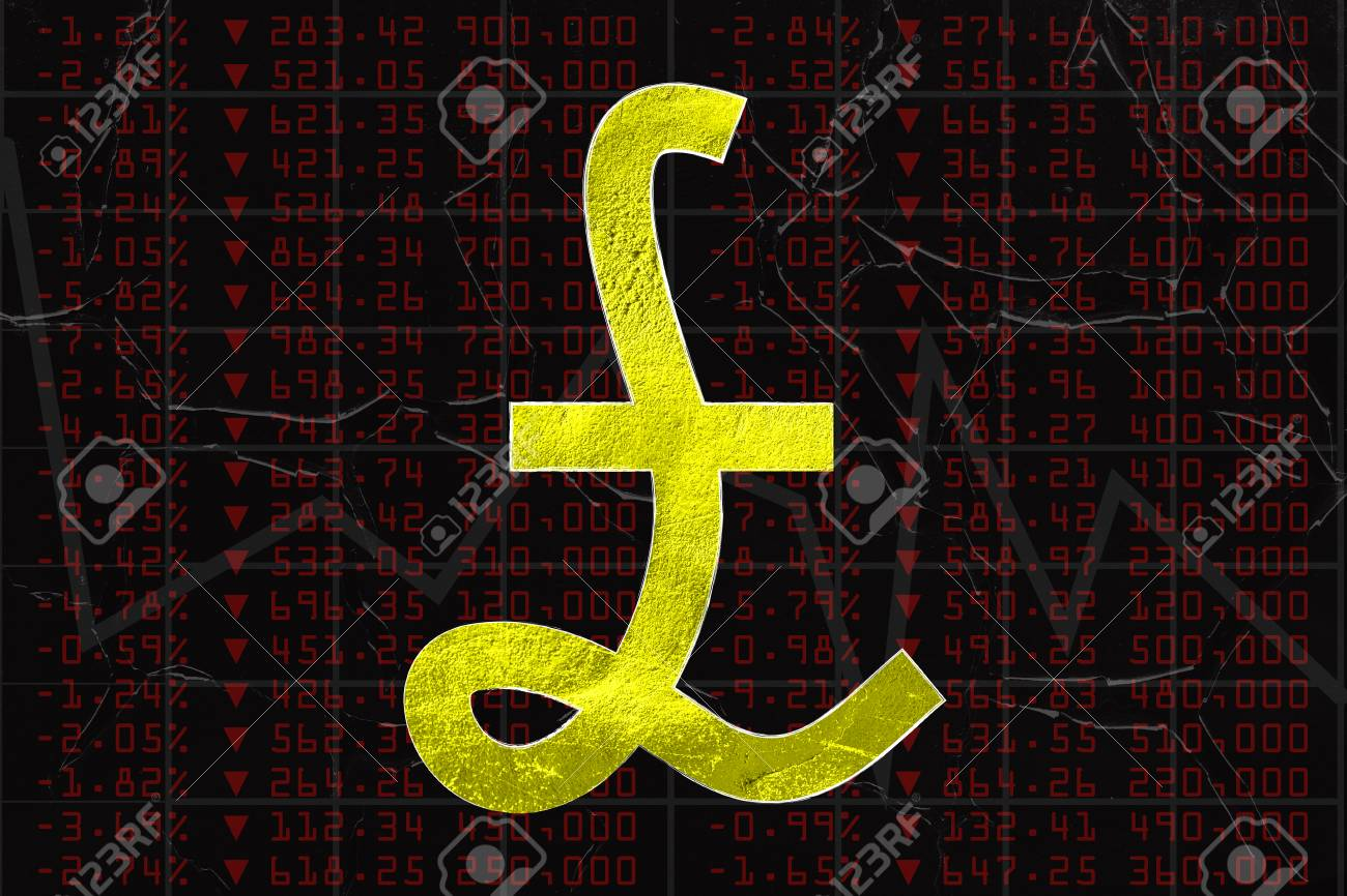 British pound sterling currency symbol on financial market british pound sterling currency symbol on financial market inspired background showing indexes going down with negative biocorpaavc Images