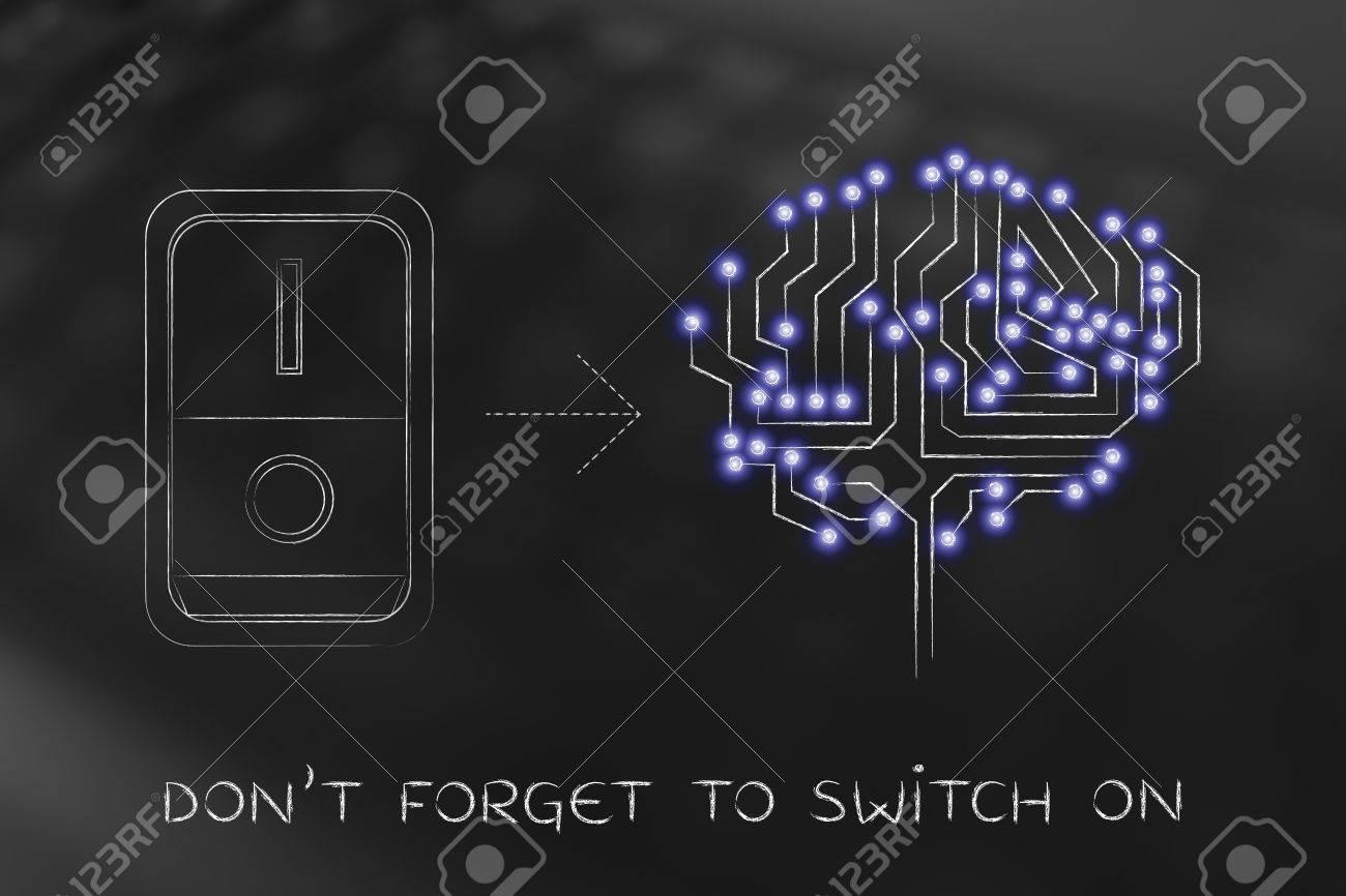 Künstliche Schaltung Gehirn Mit LEDs Und Schalter Eingeschaltet ...
