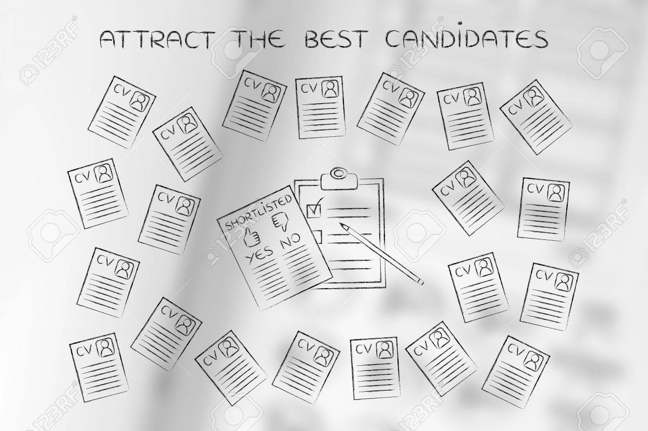 shortlist documents surrounded by lots of curriculum vitae resumes, concept  of selecting the right candidates