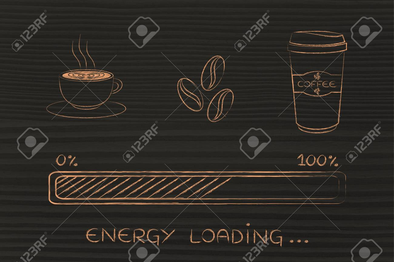 Coffee Cup Beans Tumbler With Funny Energy Progress Bar Loading