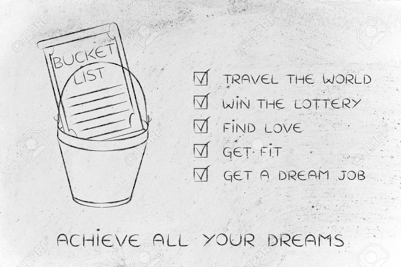 bucket list of common lifestyle dreams and goals ticked off version stock photo 61747278