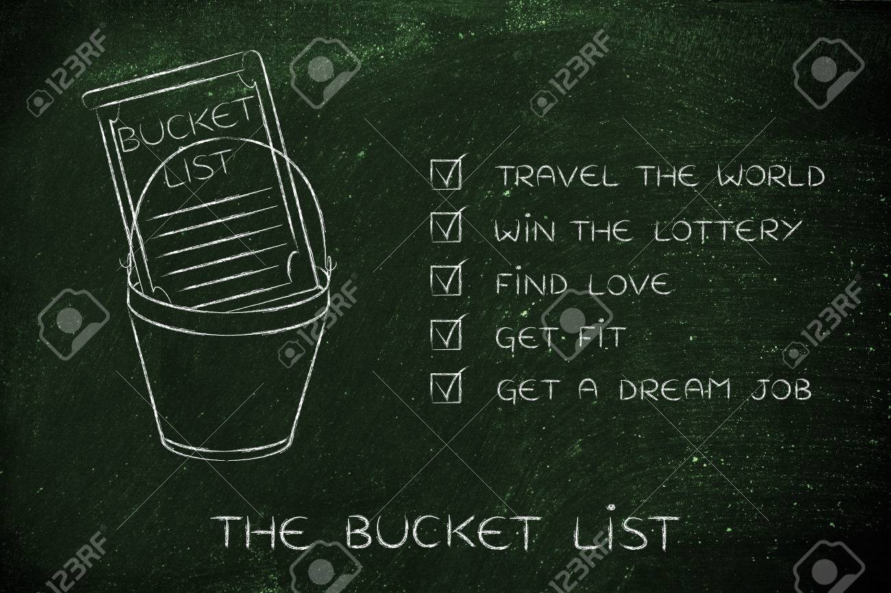 bucket list of common lifestyle dreams and goals ticked off version stock photo 61749482