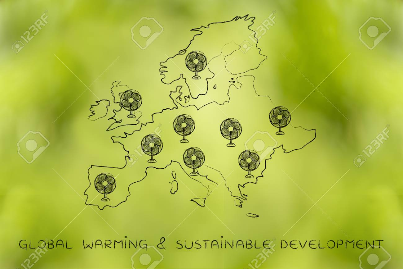 Global Warming Concept Map.Global Warming Concept Funny Map Of Europe With Huge Electric