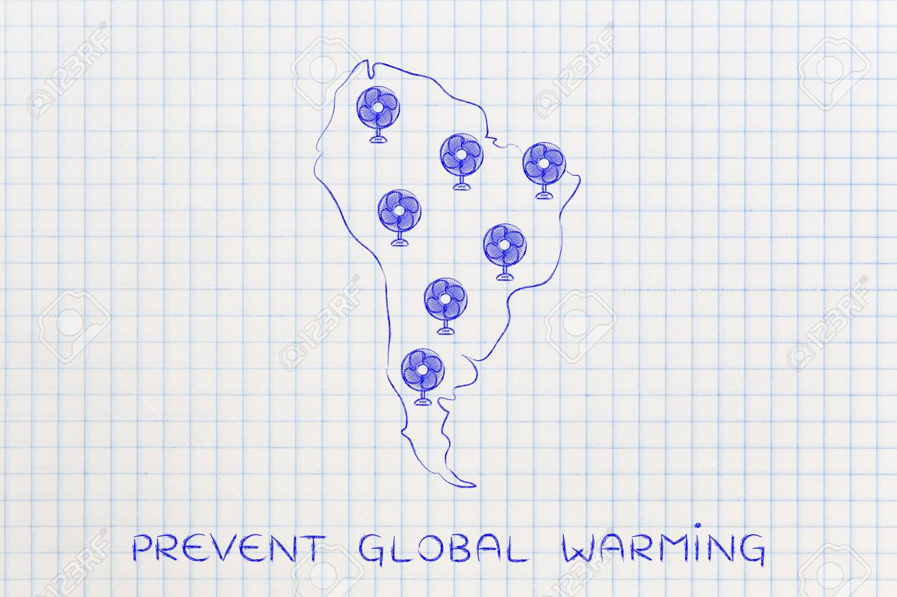 Global Warming Concept Map.Global Warming Concept Funny Map Of South America With Huge Stock