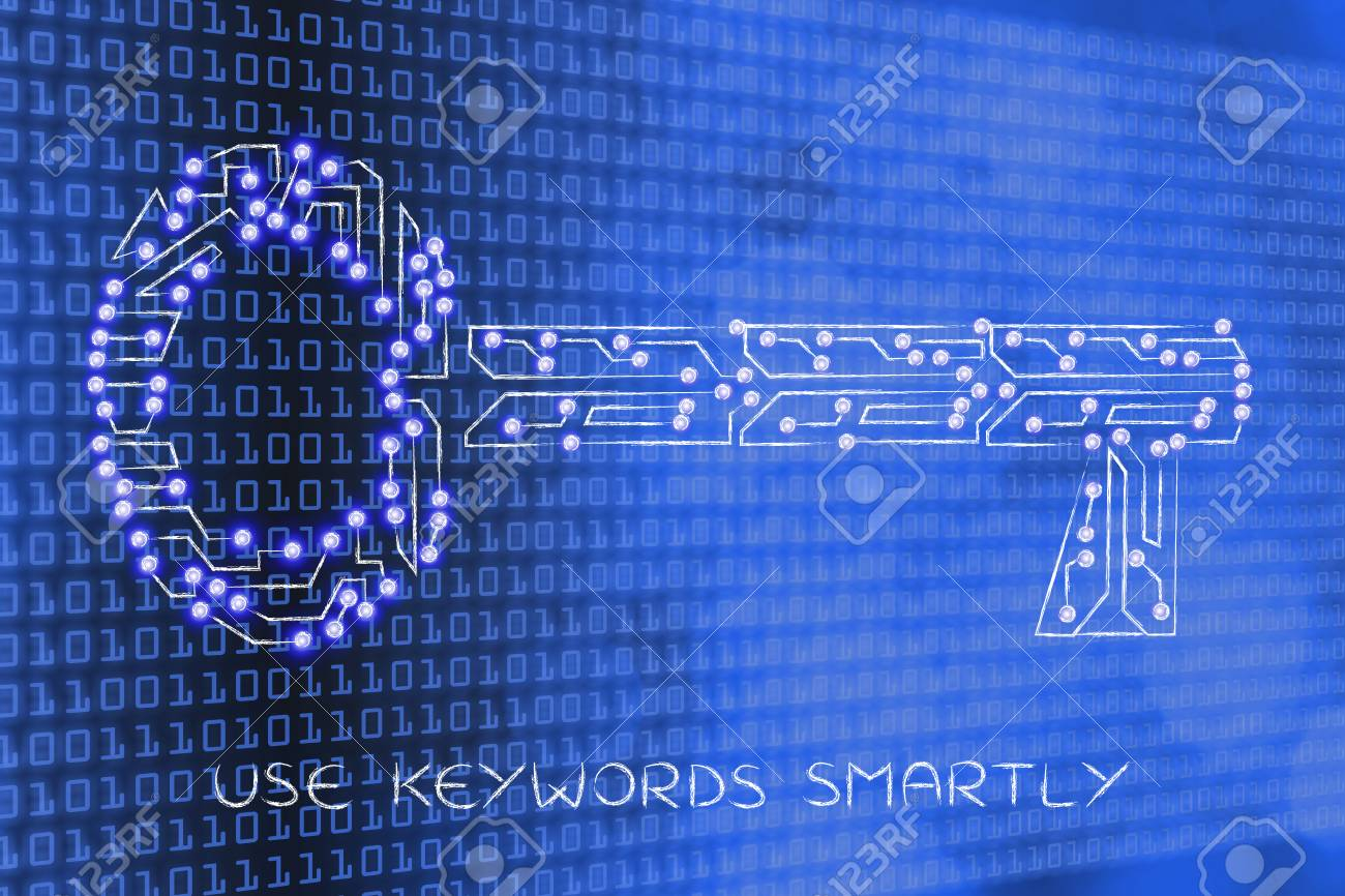 Concept Of Keywords For Your Online Content To Reach Success Electronic Circuit Key Made Microchip