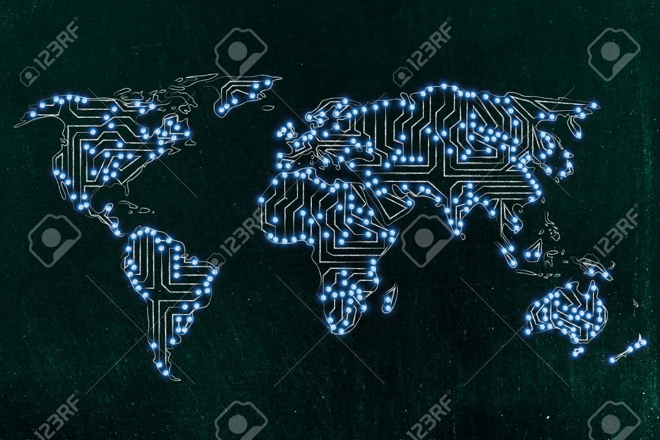 Led World Map.Concept Of Global Communications And Connectivity World Map Stock