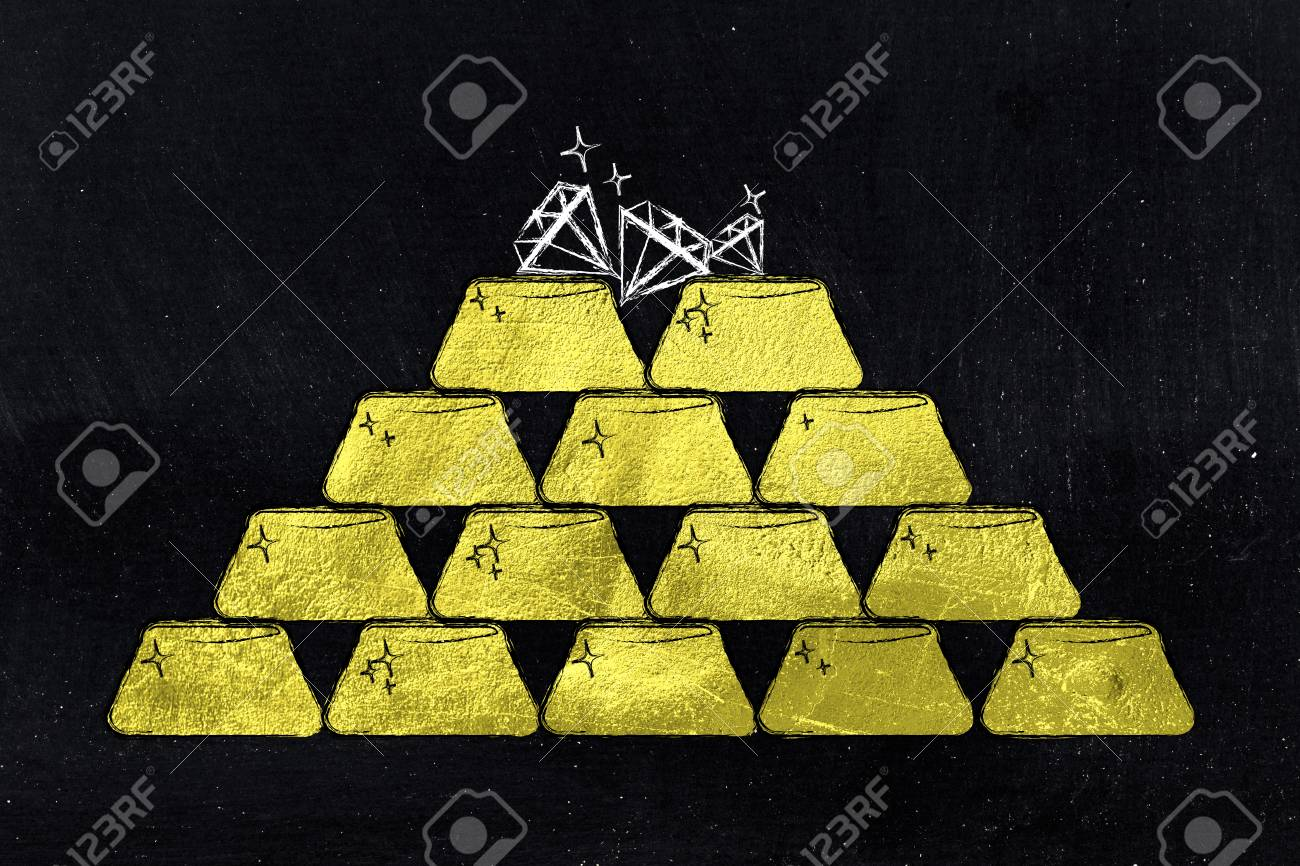 pile of gold ingots and a few diamonds on top, concept of safe