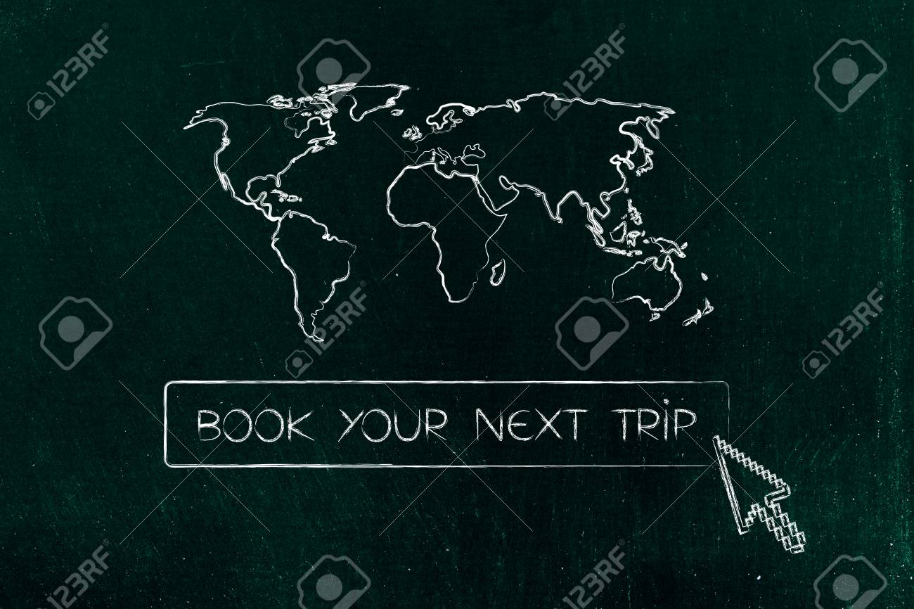 Tourism industry and exploring the globe concept book your next stock photo tourism industry and exploring the globe concept book your next trip button with cursor and world map above gumiabroncs Choice Image