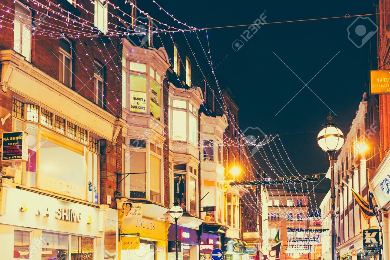 Christmas In Dublin Ireland.Dublin Ireland December 20th 2017 Christmas Lights Adorning