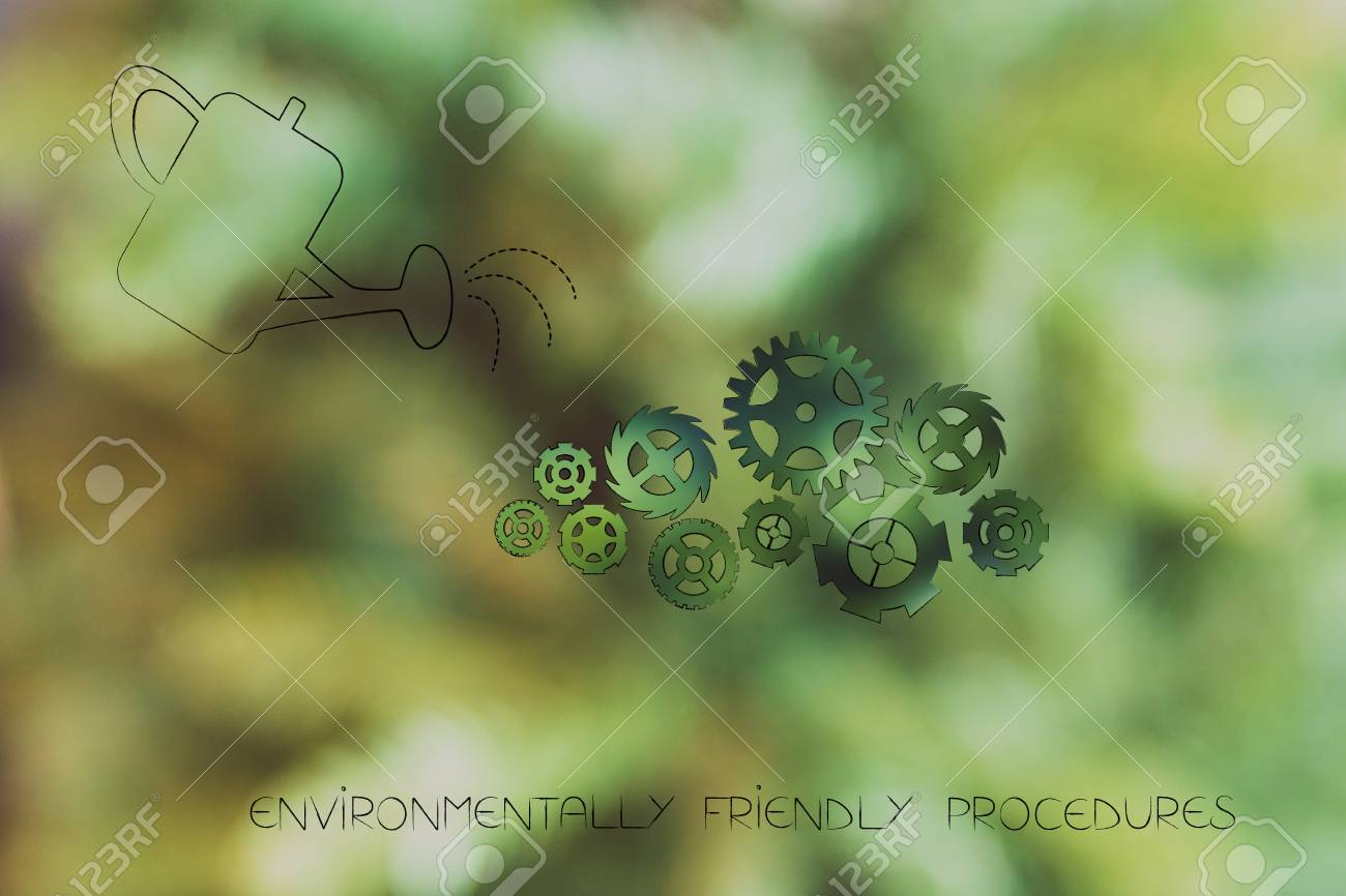 environmentally friendly procedures conceptual illustration stock