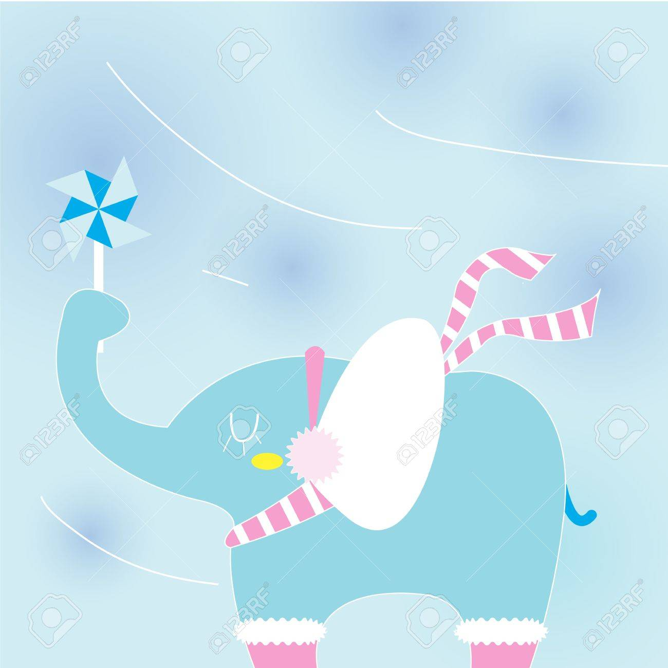 Elephant on a cold day Stock Vector - 15354544