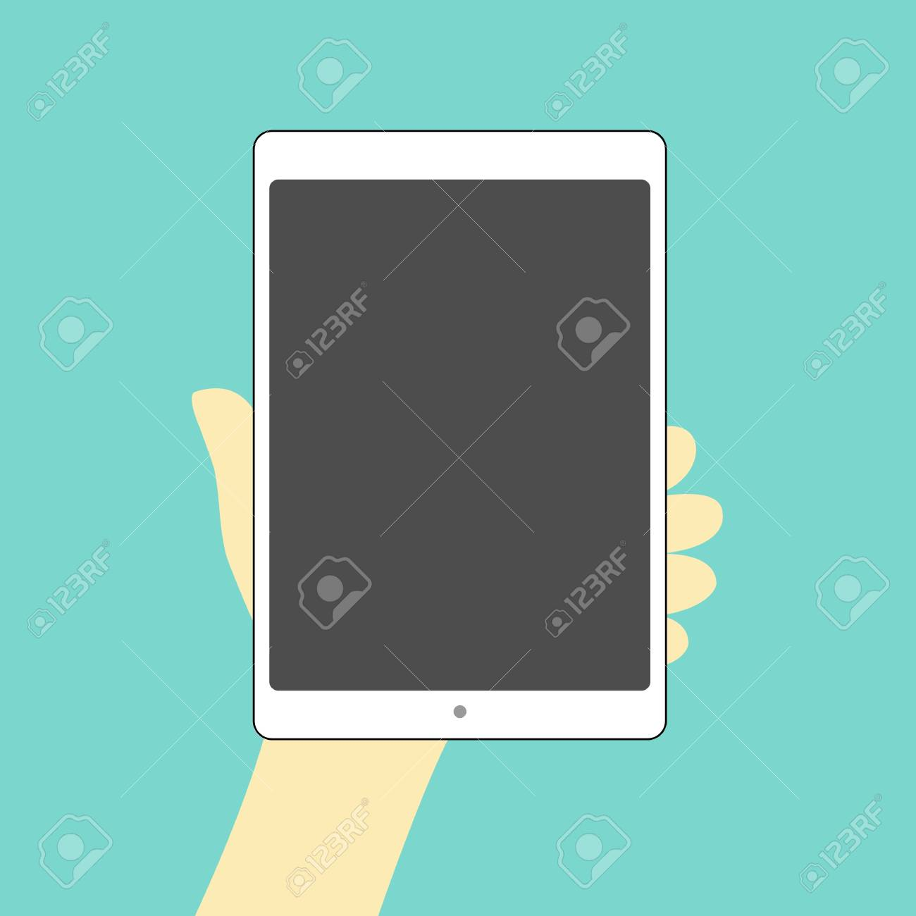 tablet hand on black screen Stock Vector - 17478567
