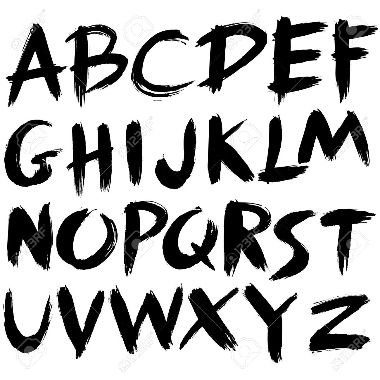Fabulous Hand Drawn Font,brush Stroke Alphabet,grunge Style Royalty Free  BT46