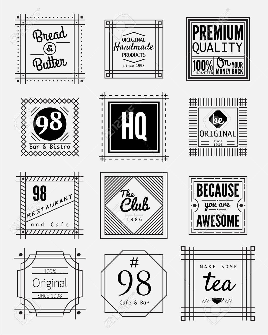 square badges design element set vintage sign design template label