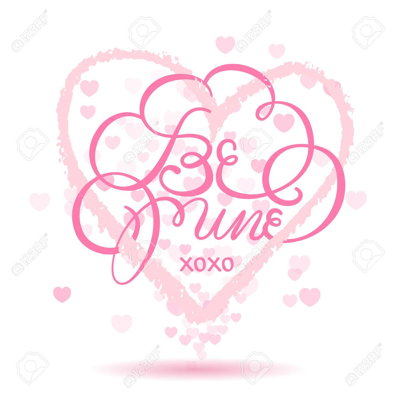 Be Mine Lettering Card Happy Valentines Day Xoxo Royalty Free