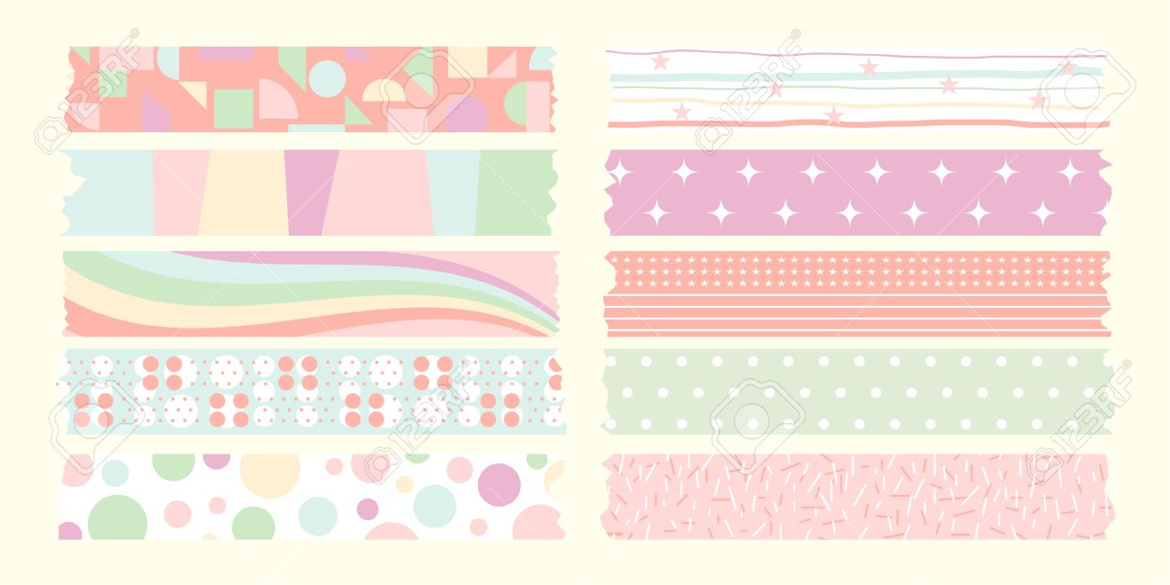 Sweet Masking Tape Pastel Color Royalty Free Cliparts, Vectors, And ...