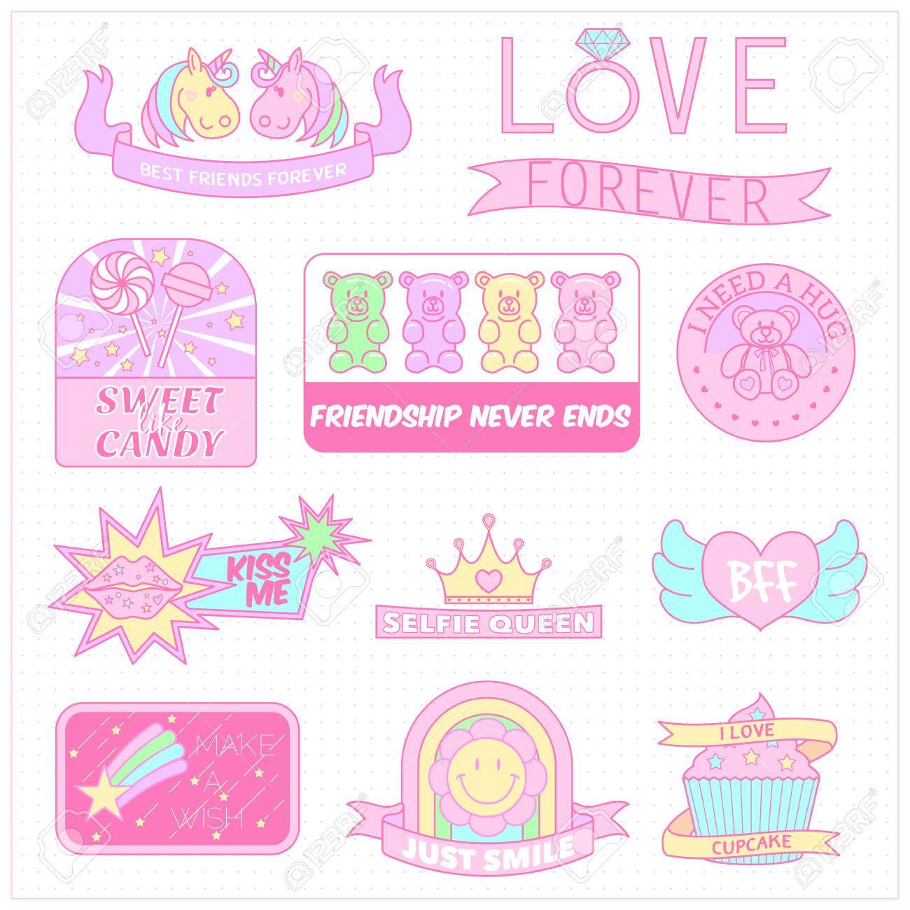 Cute girly badgesgirl stickersweet pastel emblem stock vector 62431004