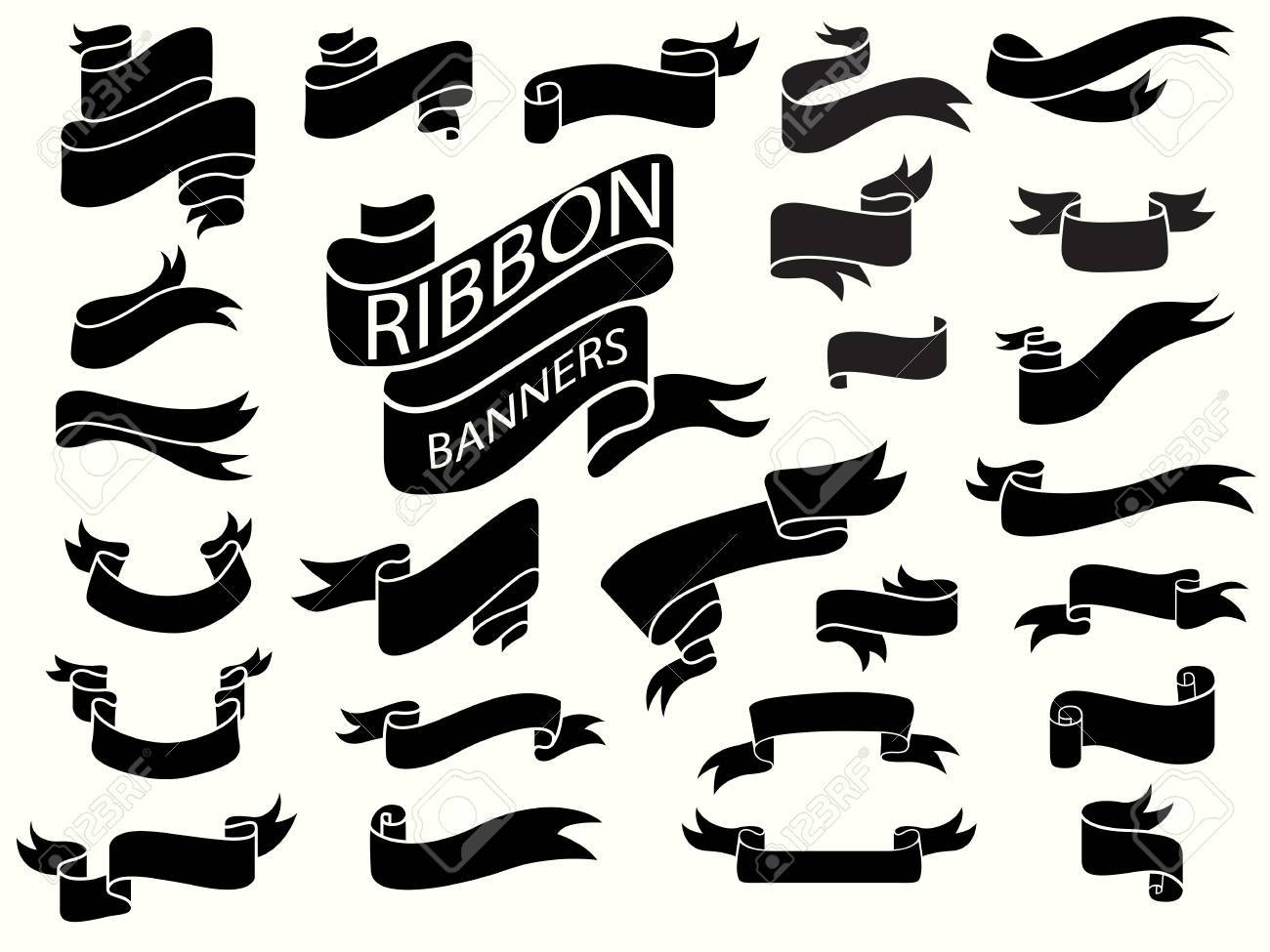 Black Ribbon Banners Design Template Curved Ribbon Banners Royalty Free Cliparts Vectors And Stock Illustration Image 67480750
